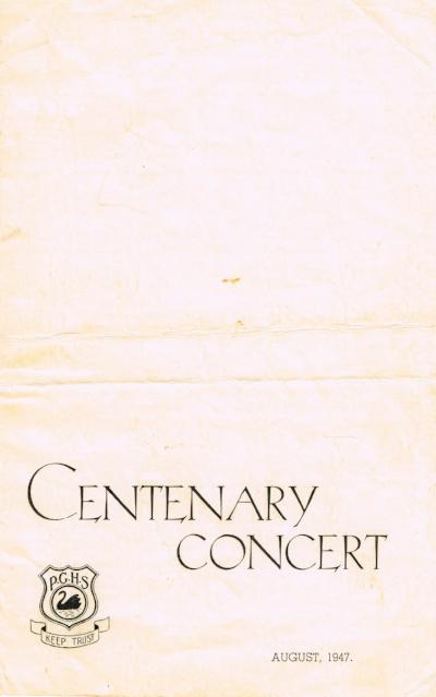 Perth Girls' School :Centenary concert booklet Perth Girls' School