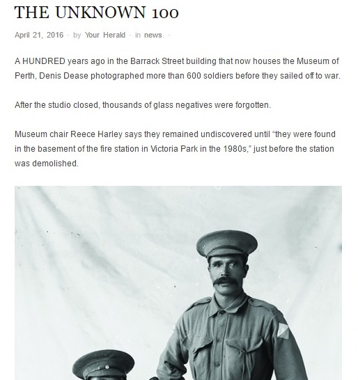 """THE UNKNOWN 100"" - Perth Voice, 21st April 2016"