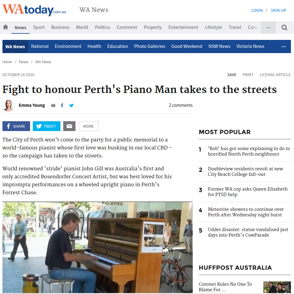 """Fight to honour Perth's Piano Man takes to the Streets"" - WAtoday, 26th Oct 2016"
