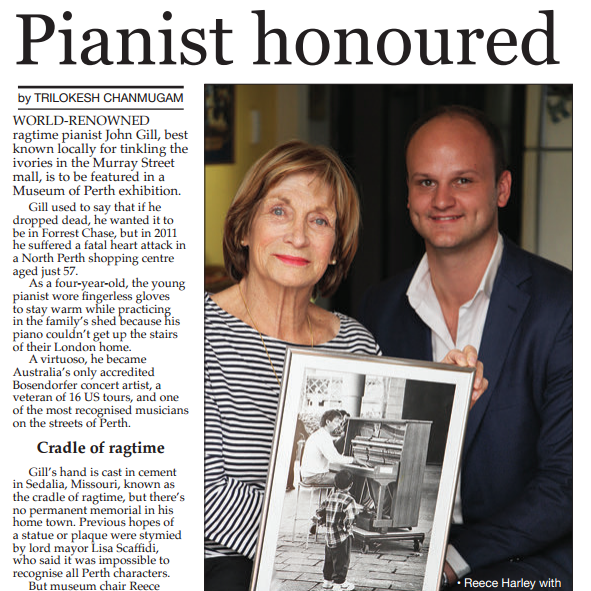 """Pianist Honoured"" - Perth Voice, 4th Nov 2016"