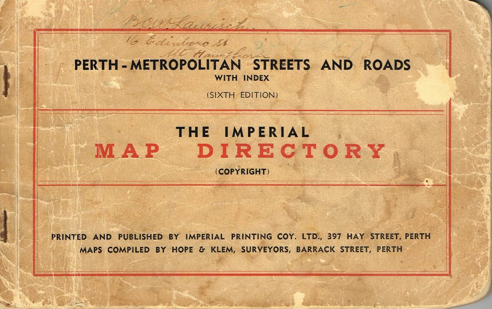 Perth - Metropolitan Streets and Roads :The Imperial Map Directory Maps compiled by Hope & Klem Surveyors