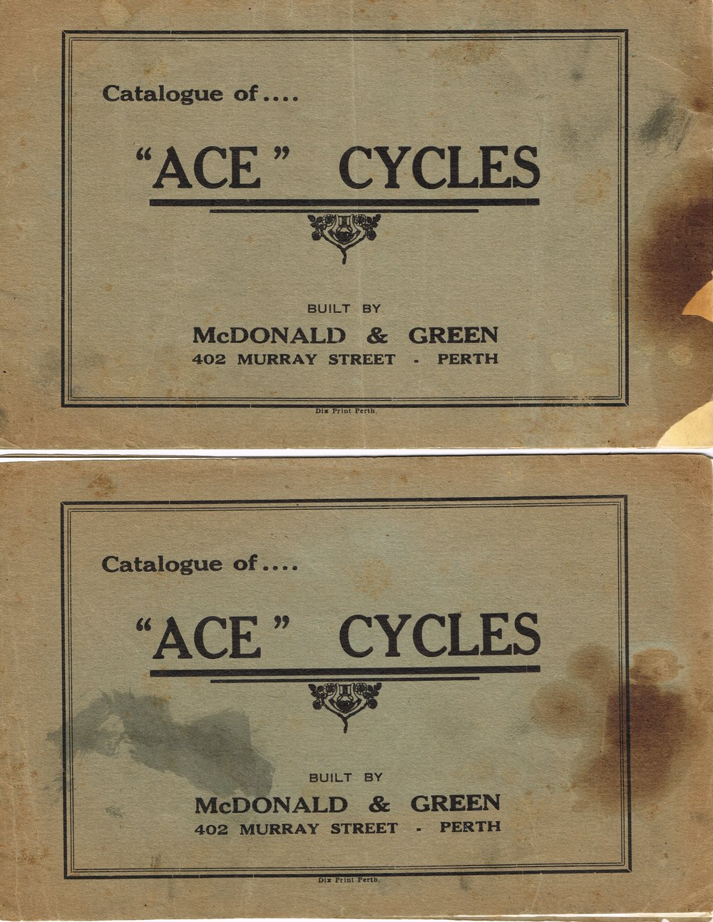 "Catalogue...""Ace"" Cycles McDonald & Green"