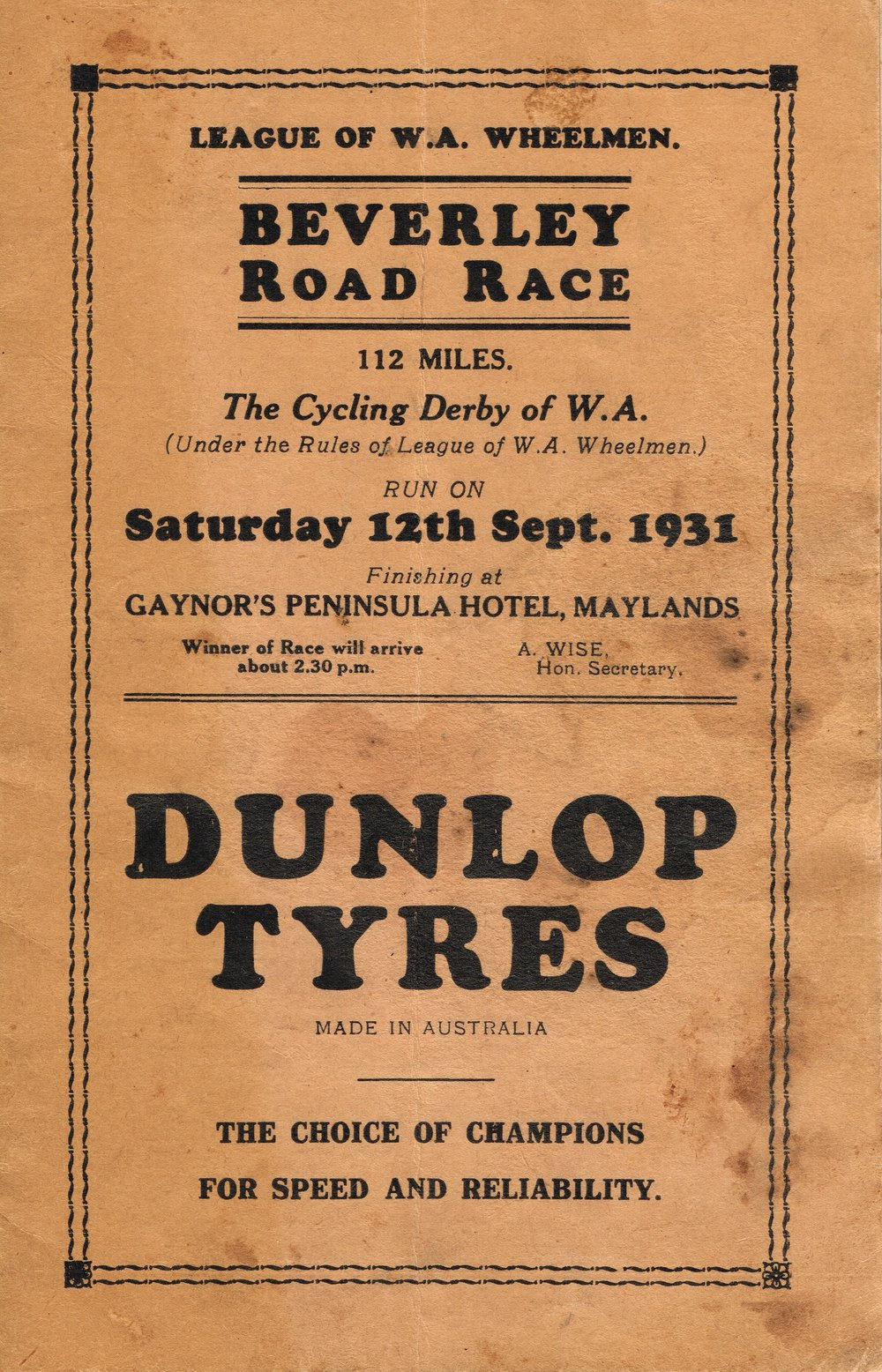 Dunlop Tyres : Beverley Road Race  League of W.A. Wheelmen
