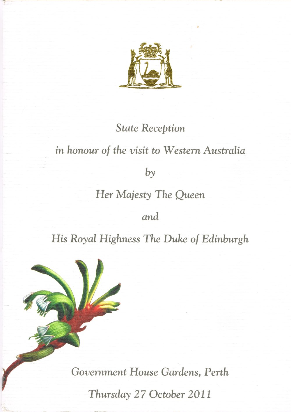 State reception in honour of the visit to Western Australia by Her Majesty The Queen and His Royal Highness The Duke of Edinburgh State Government : Office of the Premier