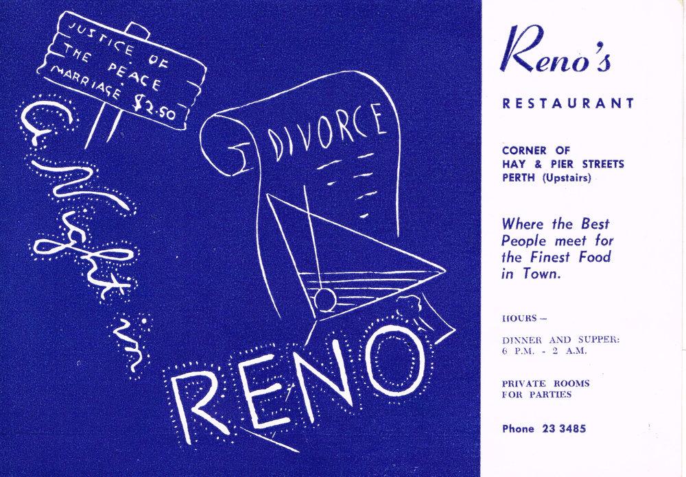 A Night in Reno Reno's Restaurant