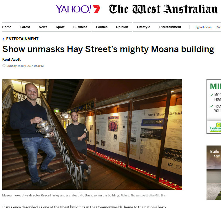 """Show unmasks Hay Street's mighty Moana building"" - 9 July 2017"