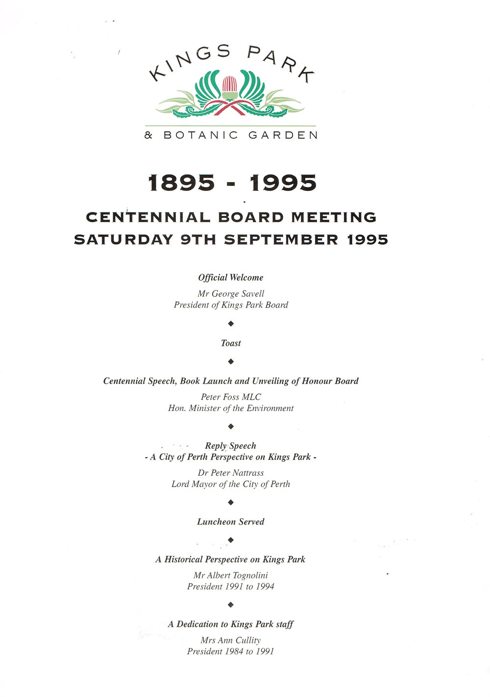 Kings Park & Botanic Garden : 1895 - 1995 Centennial Board Meeting Saturday 9th September 1995
