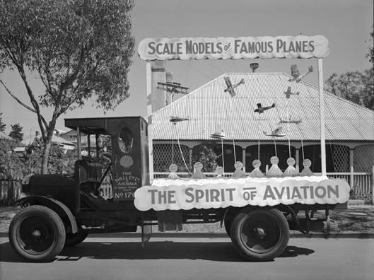 "Parade float displaying the ""Spirit of Aviation"" with scale models of famous aircraft of the time, 2 October 1929. (Supplied: State Library of Western Australia)"