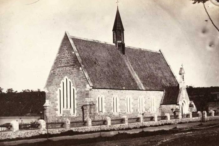 The original Old Perth Boys School building in 1861, prior to expansion works that would take place in a few years time. (Supplied: ABC)
