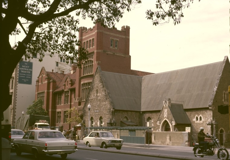 Over time the school's curriculum was reduced and courses were transferred to other educational facilities throughout Perth, including to Perth Boys' and Girls' School. Finally, in 1985 the state government announced plans to demolish all heritage buildings along St George's Terrace and redevelop the area. Following public backlash, Premier Brian Burke ordered the preservation of the technical building only but luckily, due to development plans falling through, the remaining buildings were left standing as well. The Boys School building is now in use by Curtin University for course activities and the technical building was incorporated into the development of the Brookfield Place skyscraper as street-front access for tenants. (Supplied: State Library of Western Australia)