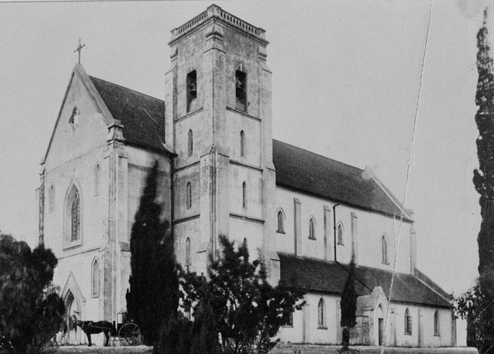 "The Cathedral was partially funded by various members of the Roman Catholic Church in 1863 with the foundation stone being laid by Bishop of Perth Rosendo Salvado on 8 February 1863. Construction took place slowly throughout 1864 and labour was primarily provided by members of the Order Of Saint Benedict, colloquially known as ""Black Monks"", who made the journey from Subiaco each day on foot to the site in Victoria Square. Work was temporarily suspended during the summer of 1864 due to a lack of funding before being blessed and officially opened on 29 January 1865. Pictured, St Mary's Cathedral in 1898, before a spire was added to the bell tower. (Supplied: State Library of Western Australia)"