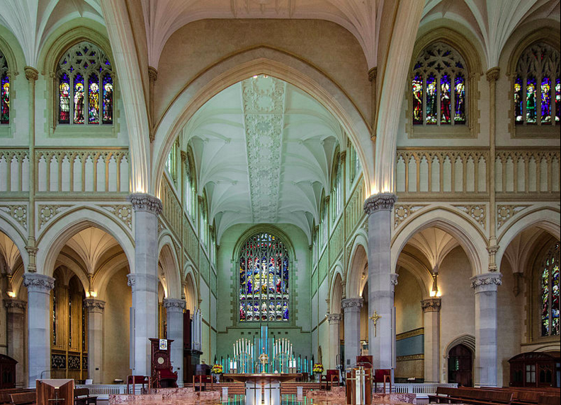 "Looking east from the interior of St Mary's Cathedral, 2014. The stained glass mosaic is a replication of Leonardo da Vinci's ""Last Supper"". (Supplied: Wikimedia Commons)"