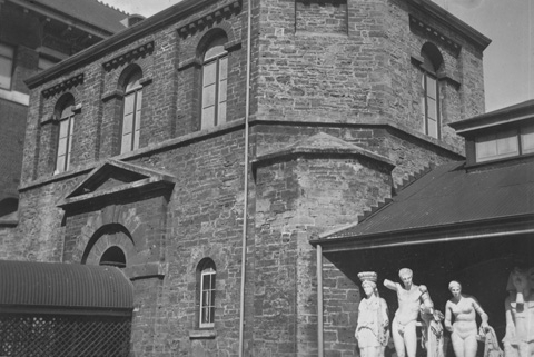 Perth Museum was established in the Old Gaol building in 1888. During that time the building underwent renovations with the complete removal of the interior cell block and a redesign and lowering of the roof. an additional wing was constructed later in 1895, to the north. The lowering of the roof was later reversed during further renovations between 1968 and 1976. Pictured, Perth Museum in 1951 (Supplied: State Library of Western Australia)