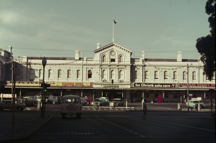 Looking north up Forrest Place roadway to Perth Railway Station, 1967. (Supplied: State Library of Western Australia)