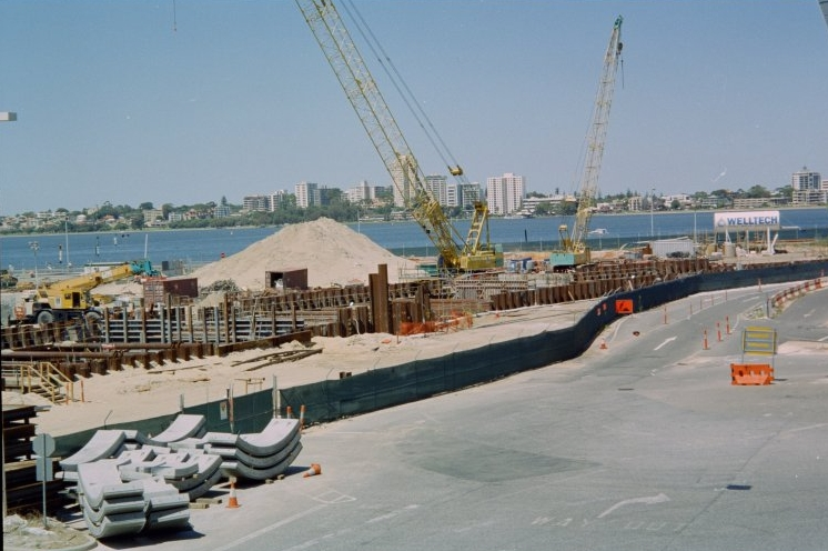 Construction of Esplanade Station (now renamed as Elizabeth Quay Station) in 2006, South Perth is visible in the background, across the Swan River. (Supplied: State Library of Western Australia)