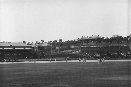 The Western Australian Cricket Association was established on 5 November 1885, with Perth Magistrate John Charles Horsey James as President. The Association has a 999 year lease on the land, effectively meaning that the WACA will exist forever as these types of lease, known as freeholds, were designed to not require renewal. The construction of a grandstand at the site was the first major effort to expand on the capacity of the site. The 500 seat building also contained a bar, a dining room, locker/changing rooms for the members, and toilets for the public. A second stand, named for former Association President W.J. Farley, opened in 1931. Pictured above, the original grandstand (left) filled with spectators watching a round of cricket in 1905. (Supplied: State Library of Western Australia)
