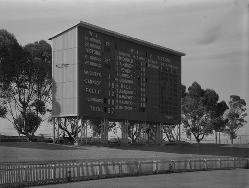 The original 1895 scoreboard was destroyed in a storm in 1948. Generously, a new scoreboard was donated by the North West Murchison Cricket Association and was opened in December of 1953. This scoreboard remains at the WACA still in use today. Pictured, the current scoreboard in 1953. (Supplied: wikimedia commons)