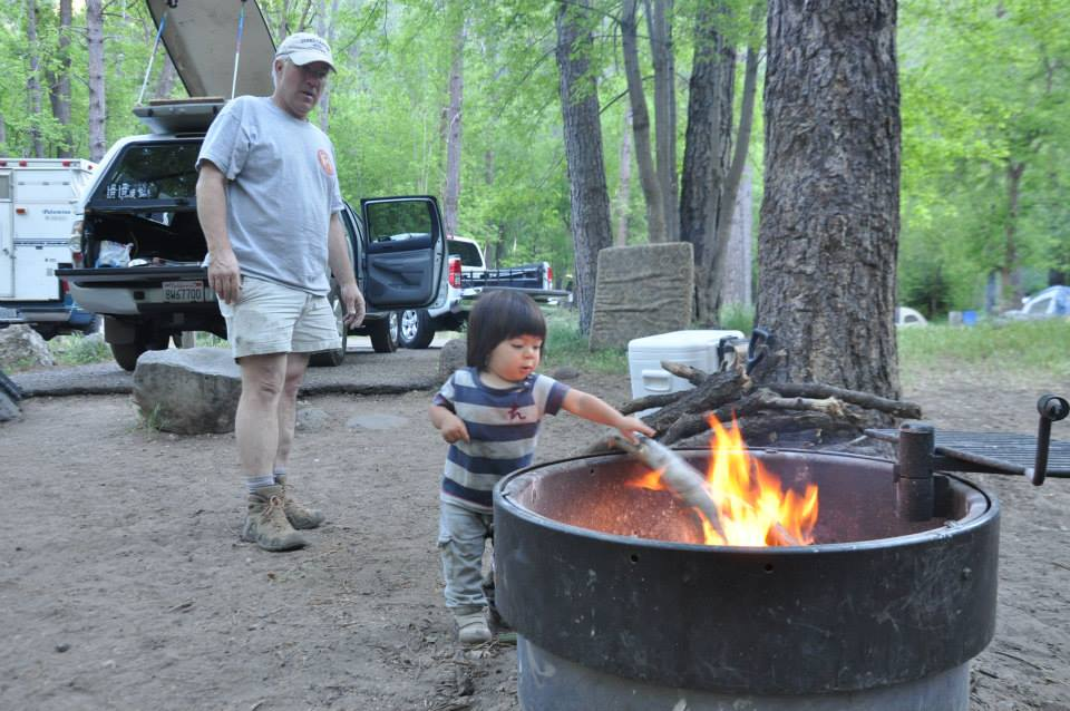 1.5 year old Kyan feeds his first campfire. Cave Springs Campgrounds, Sedona AZ May 2013