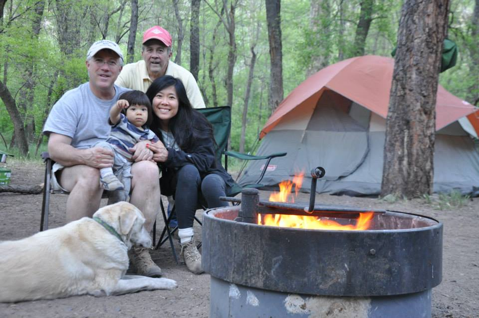 Our first tent camping with Kyan team photo. Cave Springs Campground, Sedona AZ