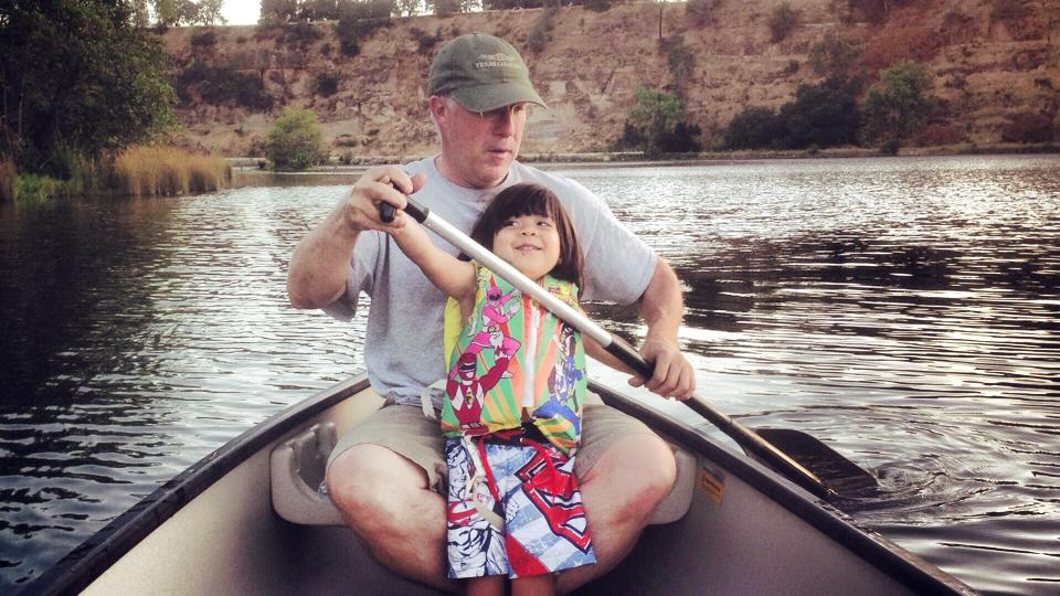 Canoeing down American River, Sacramento CA June 2014