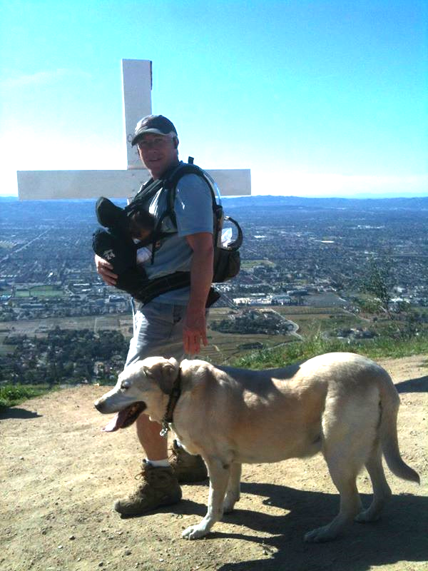 Kyan, 10 weeks old, Father and Son on their own for the first time, ity bity, asleep most of the way up Garcia Trail, Azusa, California.