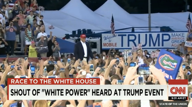 "Screen shot of CNN news report showing ""white power"" chants at Trump rally"
