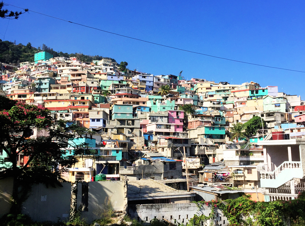 The COlourful, stacked houses just outside of port-au-prince