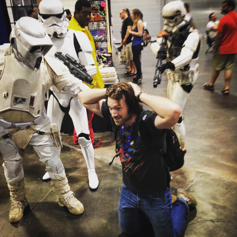 Chase was held up by storm troopers.