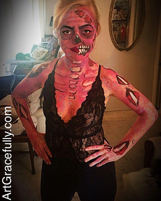 Pink Zombie for the  #SpanishTownBall #BatonRouge #Louisiana #MardiGras #Spanishtownparade #Zombie #artgracefully #makeup