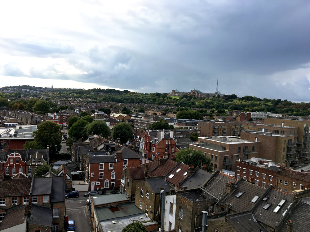 View of Alexandra Palace from St Mary's Tower.
