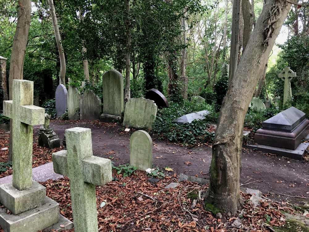 View inside of London's much-famed Highgate Cemetary.