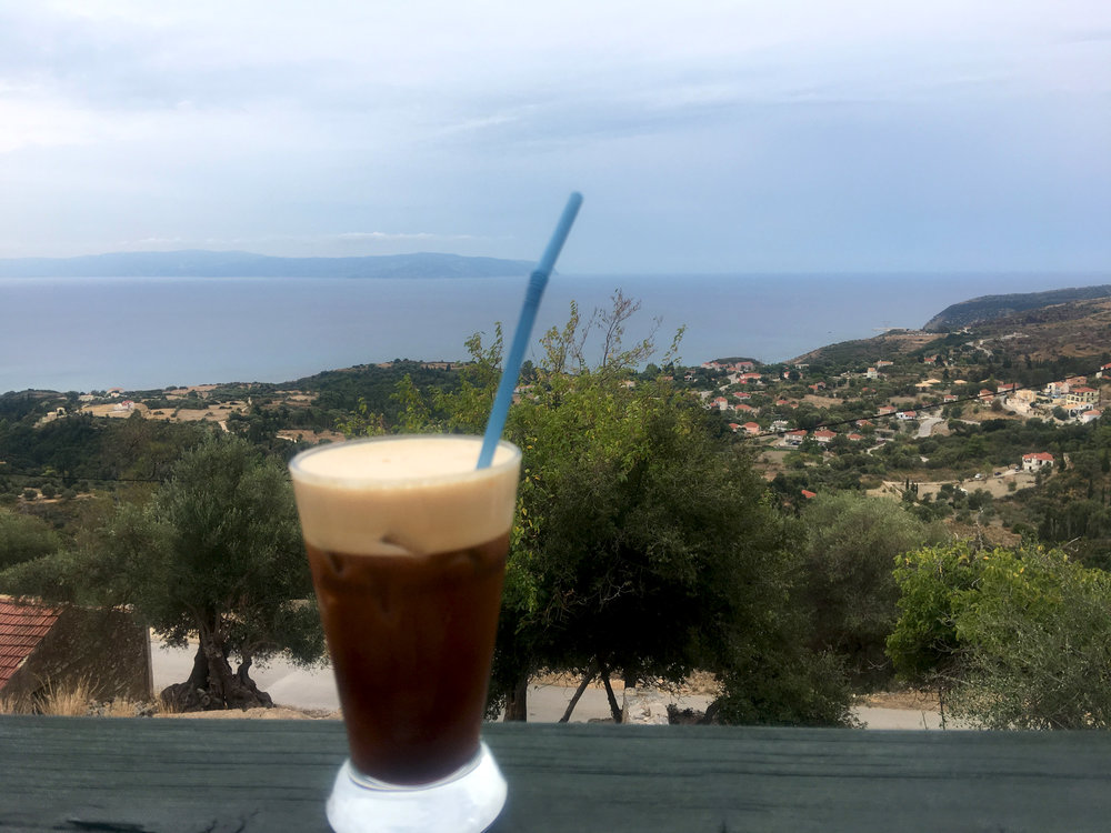 We stopped for a freddo espresso at a taverna that still stands open among the ruins.