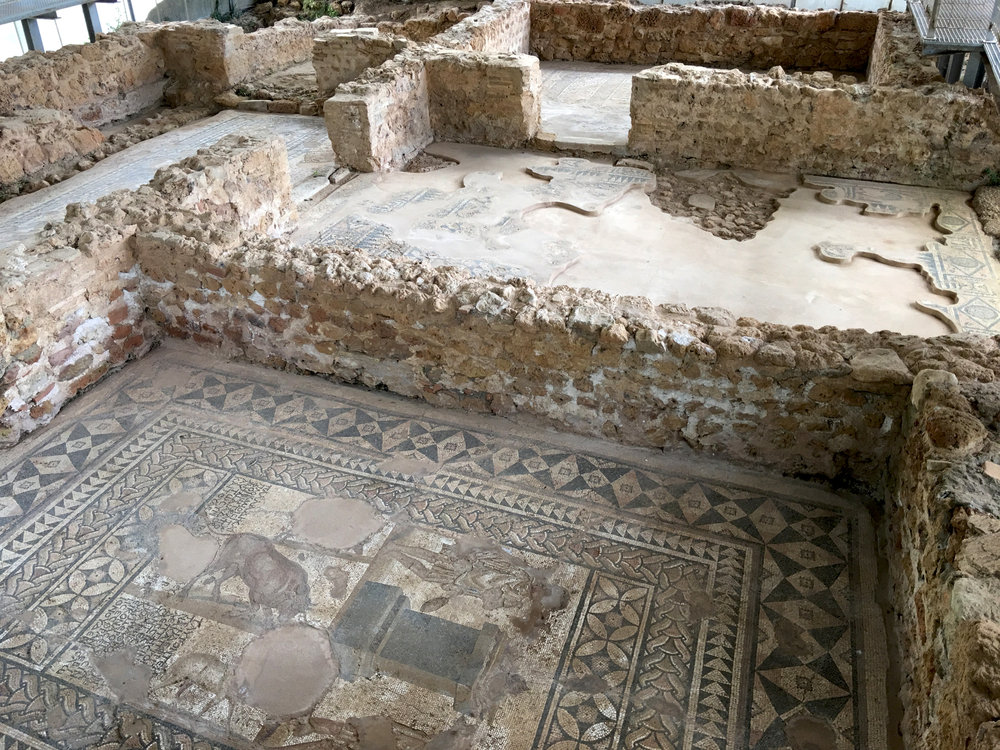 Beautiful mosaic tiled floors of a Roman villa dating as far back as the 2nd Century AD.
