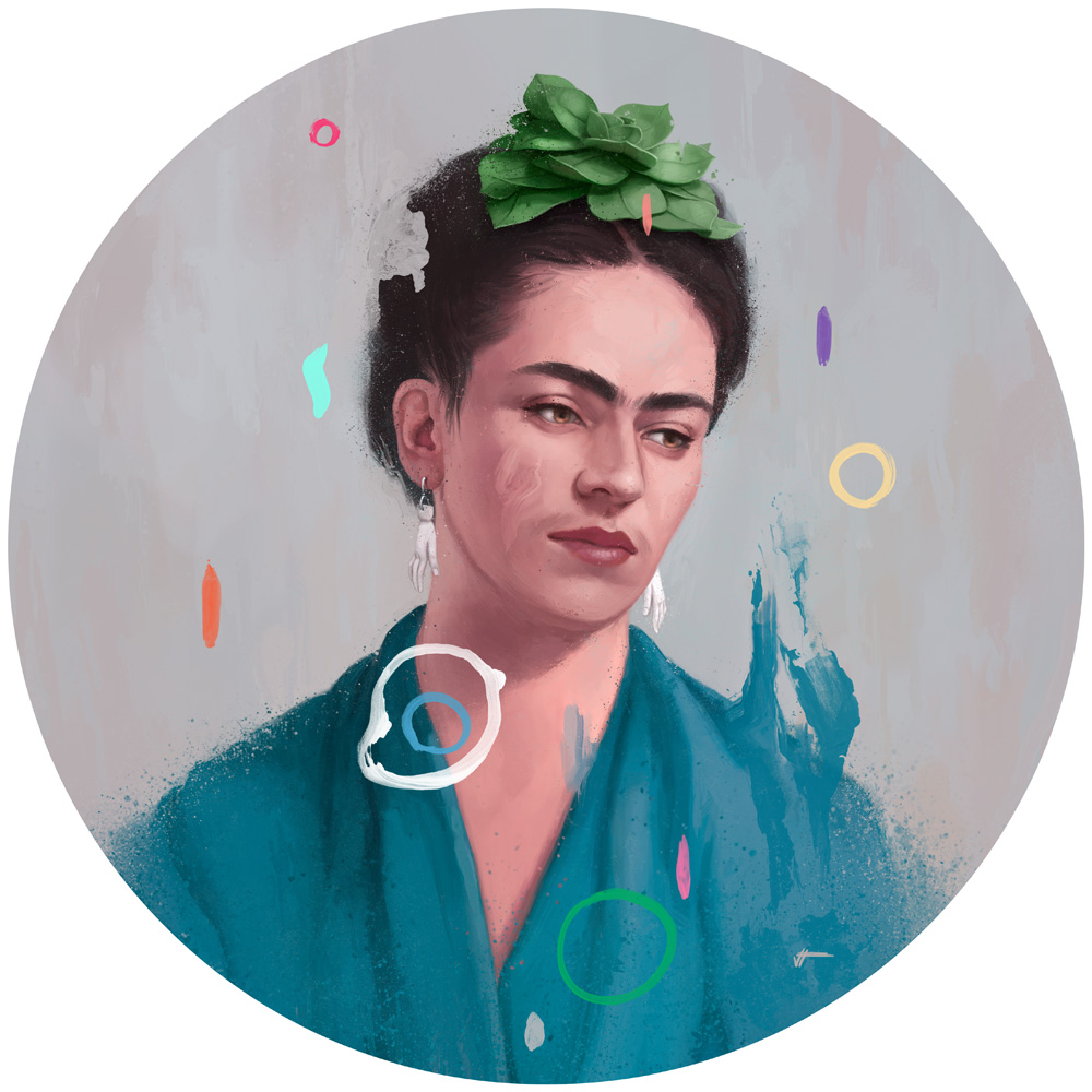 portrait of Frida Kahlo for 'THANK GOD IT'S FRIDA' - group show at  Gauntlet Gallery  in San Francisco.