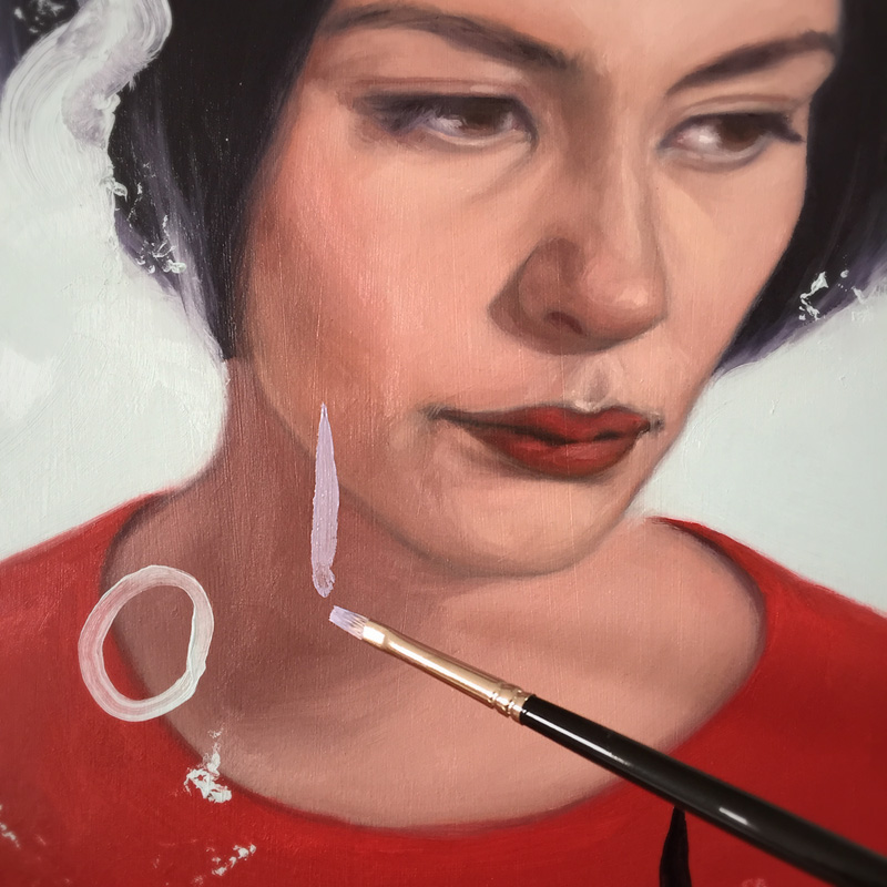"almost done with my ""amélie"" piece for the group show  ""The Color of Strangeness: Caro & Jeunet"" at  spoke art  in san francisco, opening may 9th. oil on board."