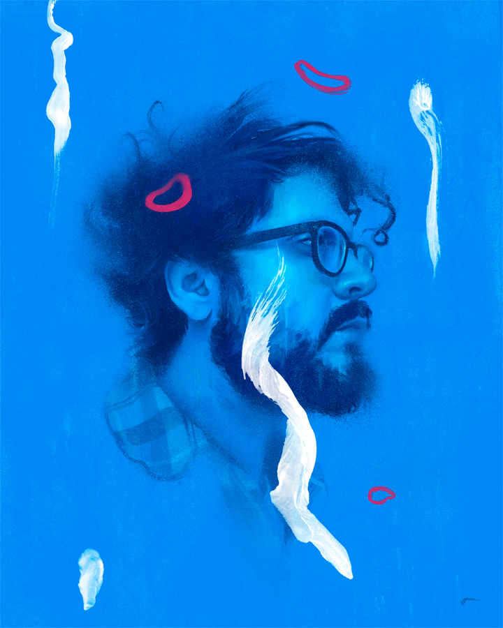 blue yoni.    i had the tremendous pleasure to paint one of my absolute favorite artists, mr. Yoni Wolf of the great band WHY? he was kind enough to send me some reference pics for the portrait and he is such a great guy.