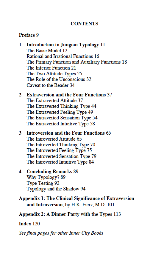 The table of contents for the book, Personality Types: Jung's Model of Typology, by Jungian analyst Daryl Sharp.