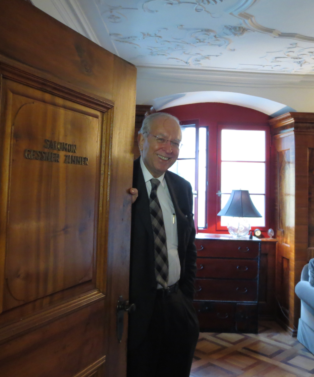Jungian analyst Murray Stein welcoming me to his office in Zürich.