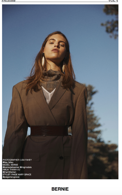 BERNIE - PAGEone  Photography: Lisa Fahey  Styling: Paige Mary Grace  Model: Bernie @ IMG