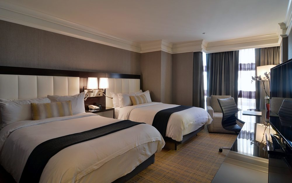 The slick, business-style rooms of the Loews Boston are elegant and roomy enough for young families. Picture from Loews Boston.