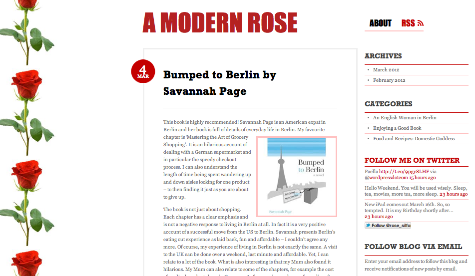 A Modern Rose Blog Featuring Savannah Page's Bumped to Berlin Book