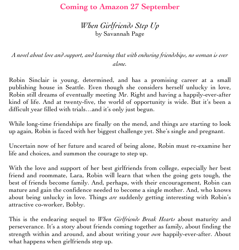 When Girlfriends Step Up Book Synopsis - Savannah Page