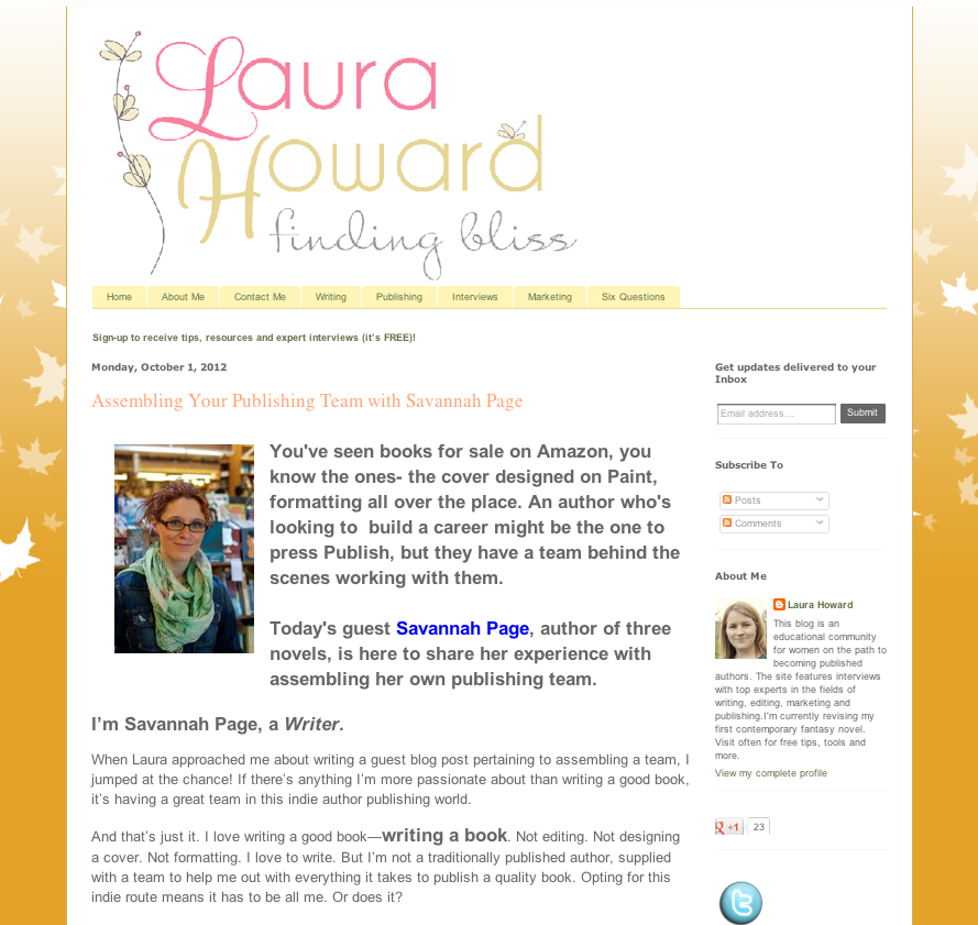 Guest Blog Post by Savannah Page on Laura Howard Finding Bliss Blog