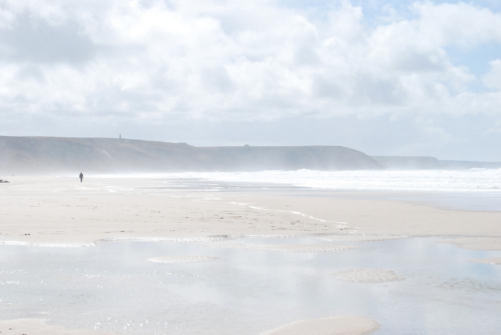 Misty beach in Cornwall