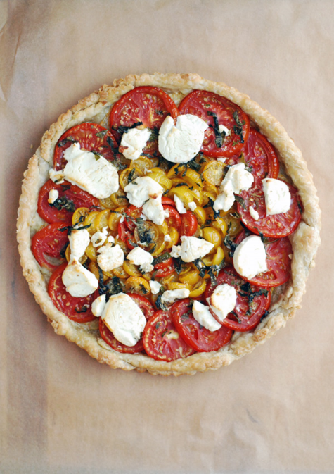 Tomato Chevre Tart by Elizabeth at Brooklyn Supper. Looks beautiful & it's a simple recipe (maybe minus the pastry...?), Brooklyn Supper also do wonderful monthly posts on seasonal produce, well worth a look if you're interested.