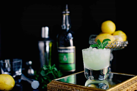 The perfect summer treat—Chartreuse Smash by Jeff & Jane at Thyme & Temp.