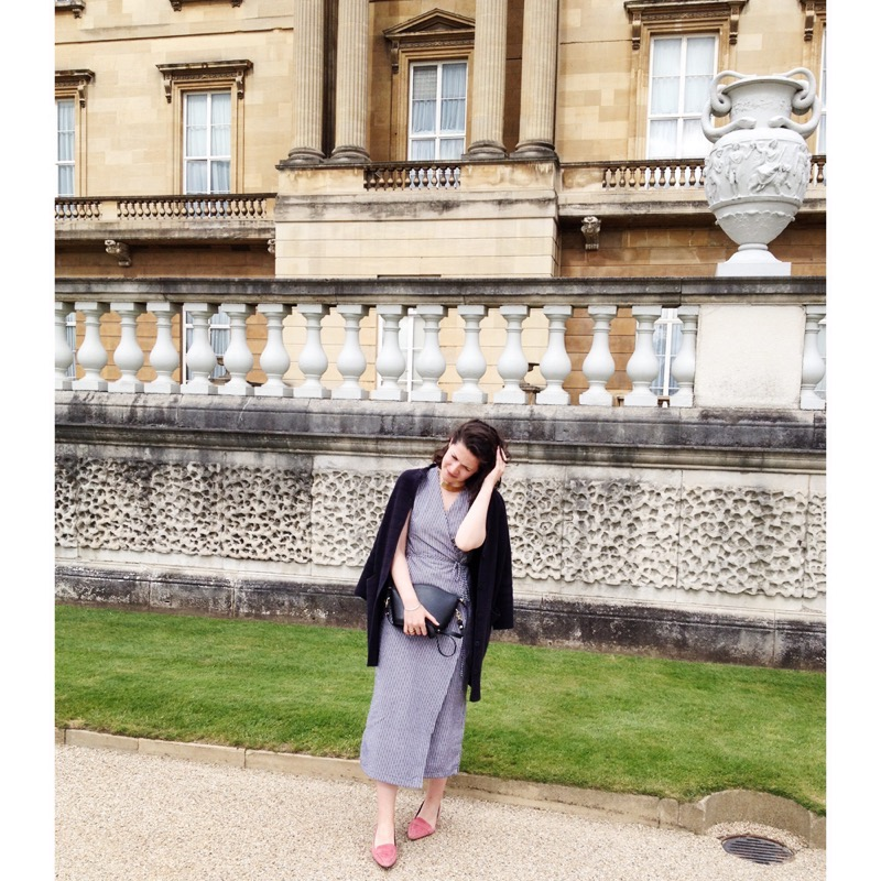 Elleanor wearing her #021 dress and carrying the mini mini Elwinbag by Lost Property of London.