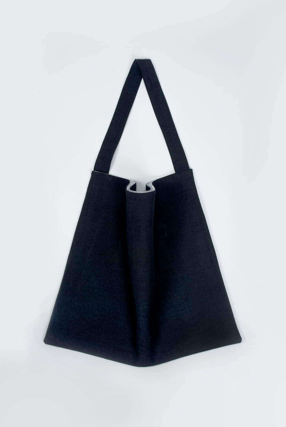 The navy linen #029 tote bag