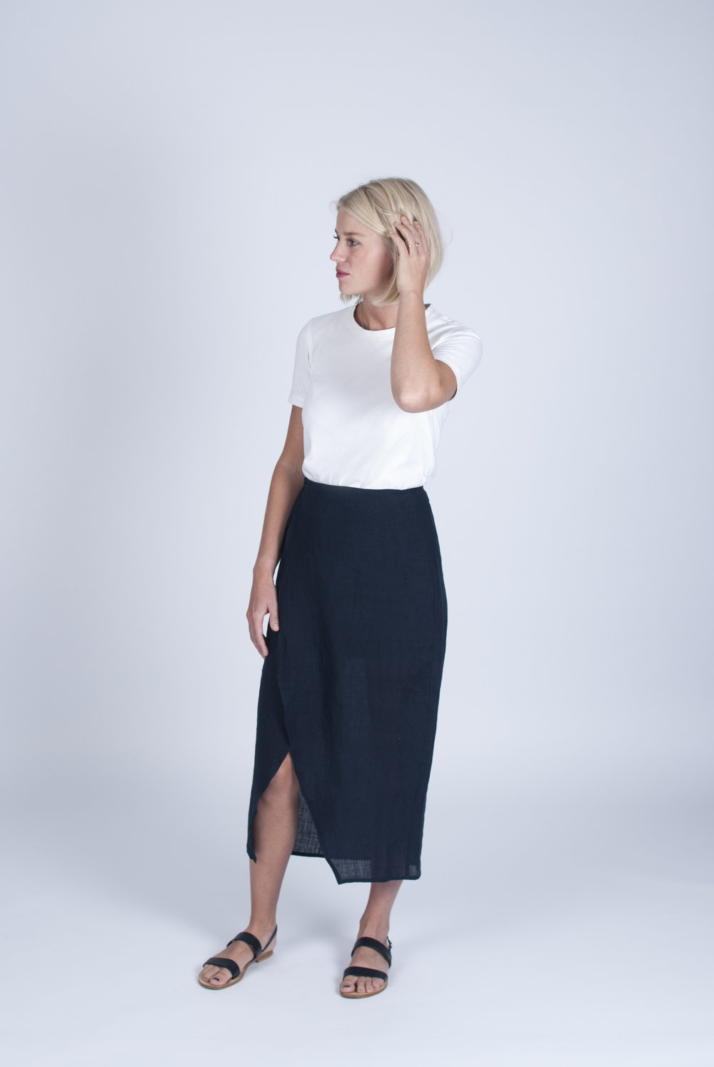 The #026 skirt, styled with the #023 t-shirt.