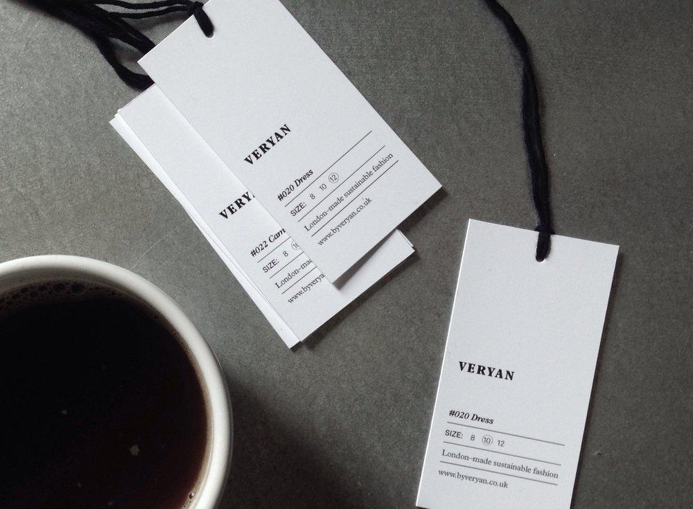 Coffee and Veryan hang tags